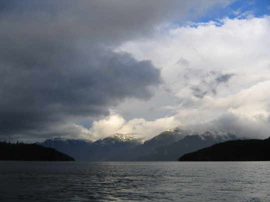 View from the mouth of Jervis Inlet