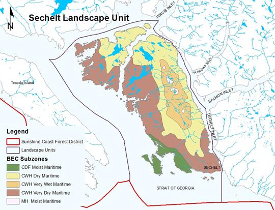 Biogeoclimatic Subzones of the Sechelt LU